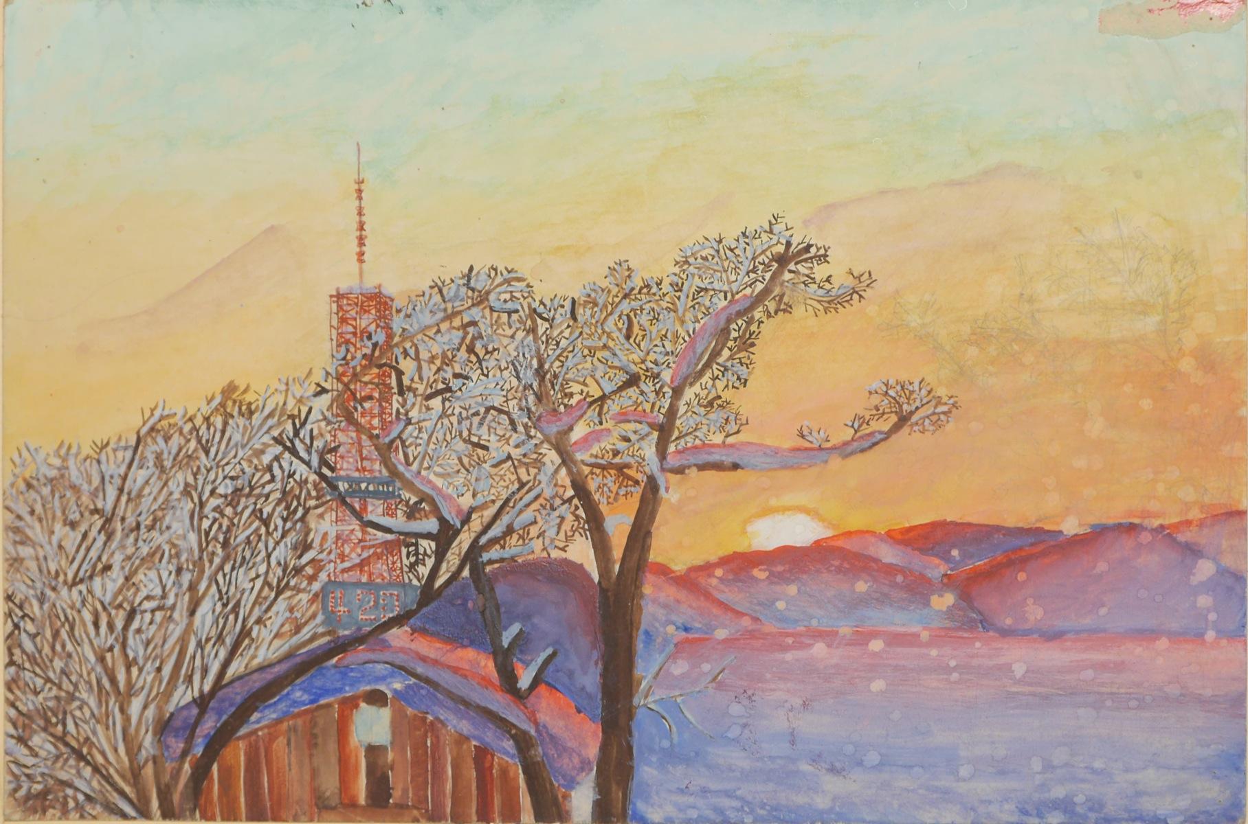 夕陽の雪景色